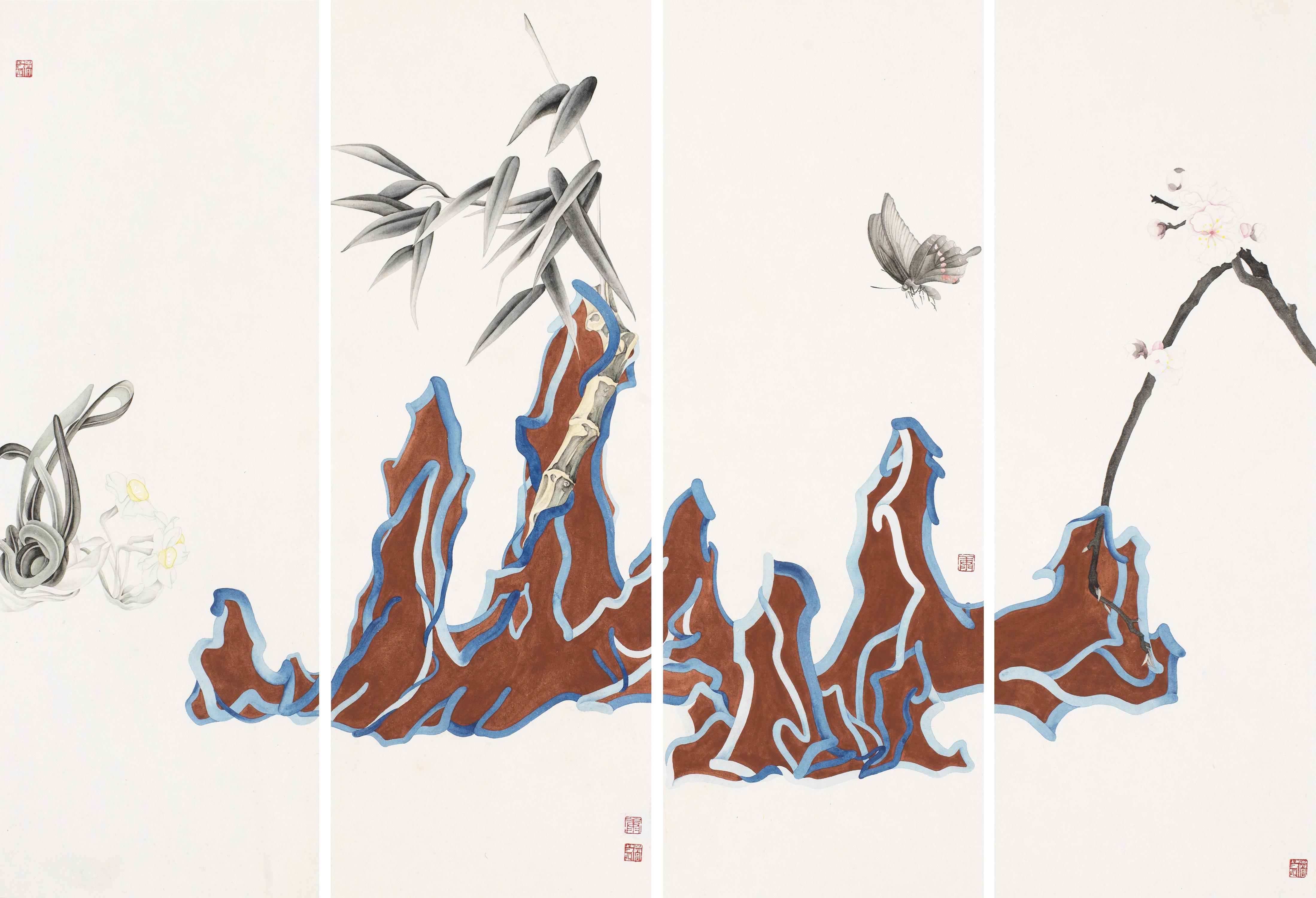 11 康春慧 砚山 之二 52×18cm×4 纸本设色 2018年.jpg