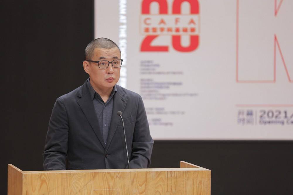 04展覽策展人,外型學科根本部主任白曉剛在揭幕式講話.jpg