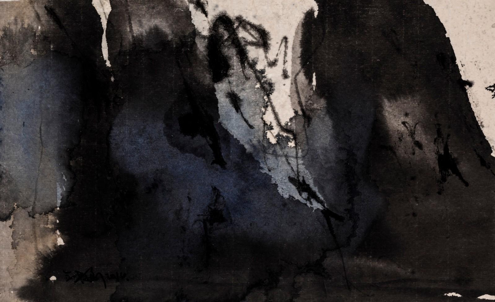 图5、王铁华,东山高卧,纸本水墨综合材料,17cmx28cm,2015.jpg