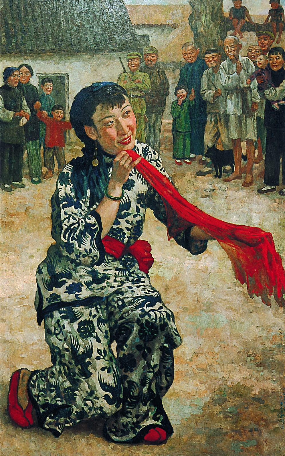 4 徐悲鸿  ,《放下你的鞭子中之王莹女士》, 布面油彩  ,144cm×90cm,  1939年  。台湾藏家收藏,新加坡国家美术馆陈列.jpeg