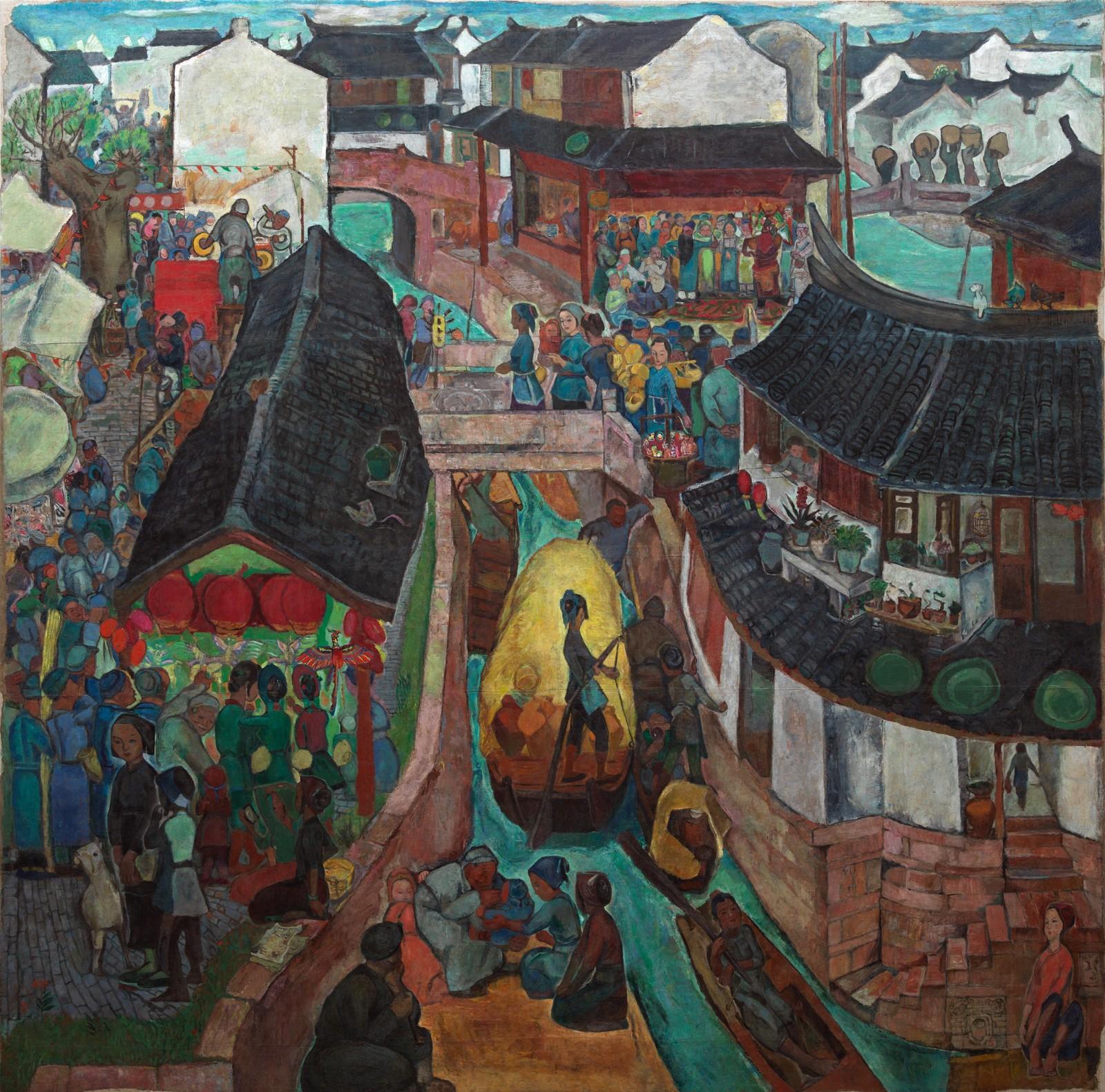 16《水乡的 记忆》(2020年修复后) 袁运生 243×245cm 1962 布面油彩 2021年艺术家捐赠中央美术学院美术馆.jpg