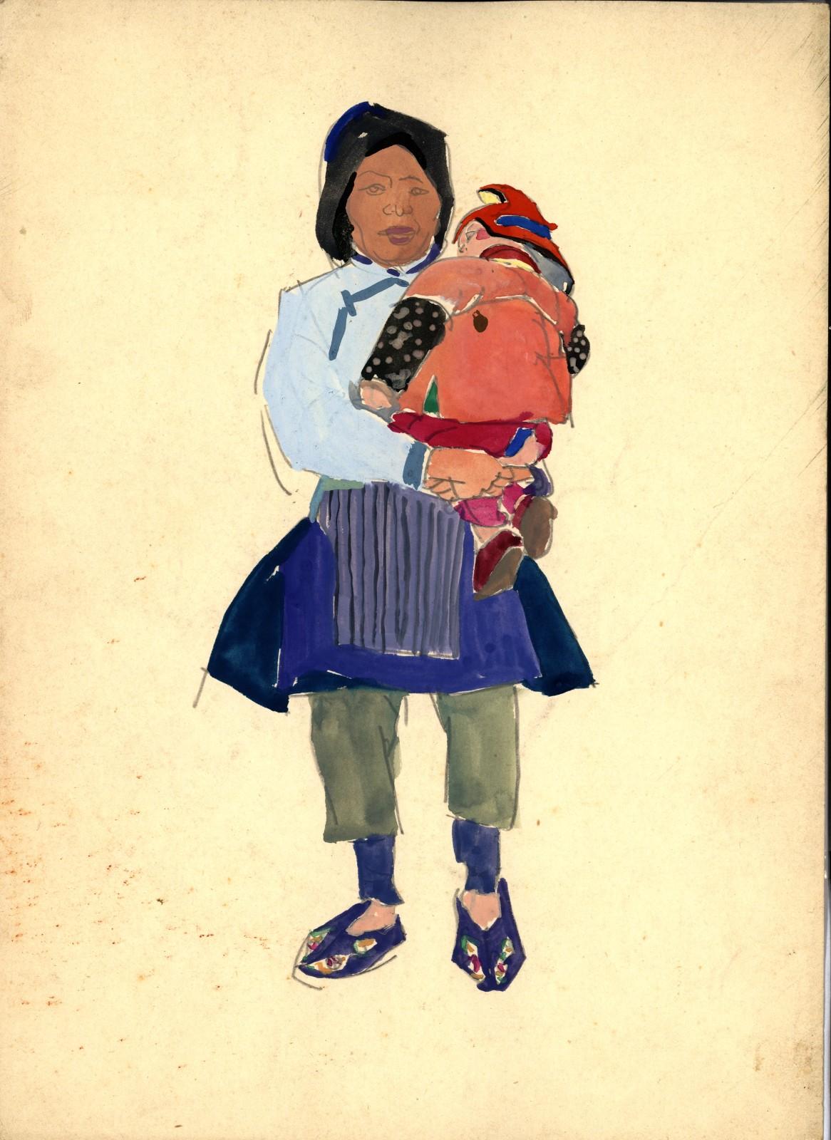 20《水乡的记忆》创 作素材之 1 袁运生 26.4×19cm 1962 纸本水彩 2021年艺术家捐赠中央美术学院美术馆.jpg