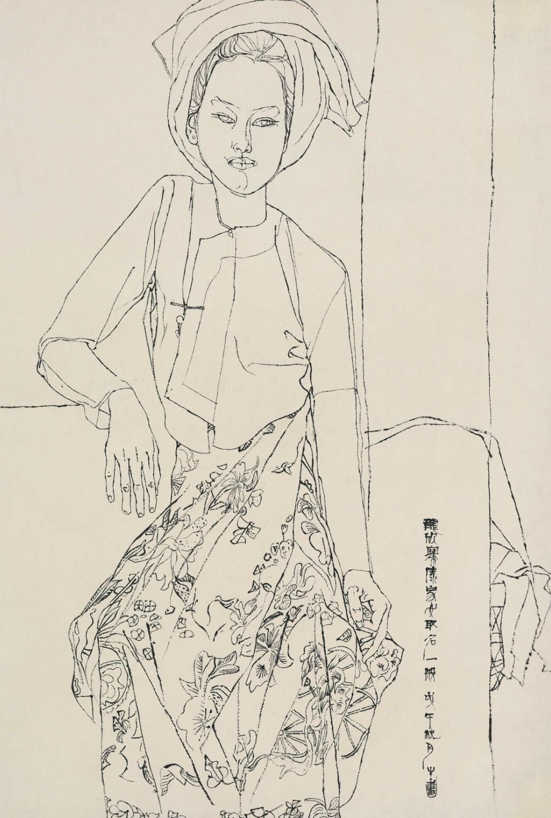 27 傣女一般像,Portrait of the Dai girl Yiban, Ink on Xuan paper 毛笔宣纸,68x95cm,1978秋.jpg
