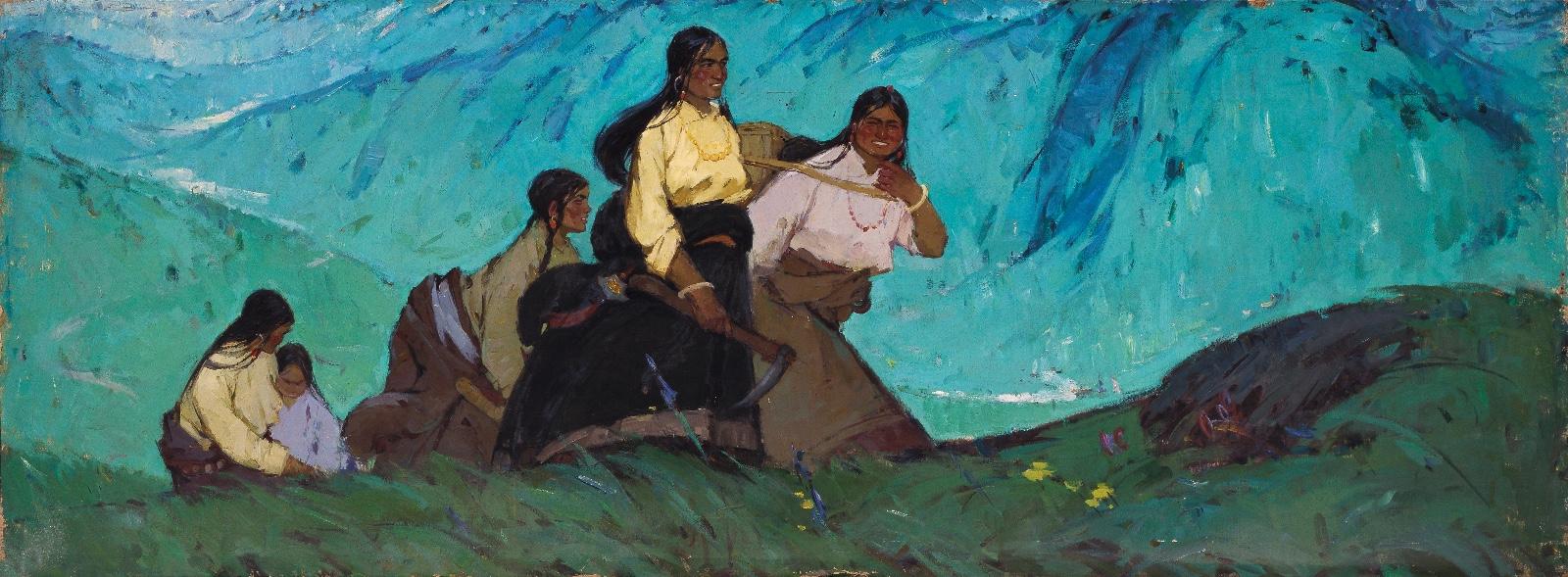 高原青春100cmX270cm 1963 亚麻布油画 马常利 中央美术学院美术馆藏.jpg